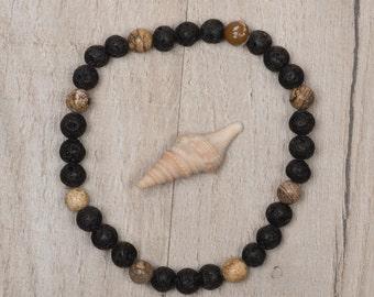 Black Lava Beads, Bead Bracelet, Jasper, Mens Bracelet, Women's Bracelet, mens Beaded Bracelet,  mens Lava Bracelet, mens diffuser bracelet