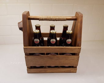 Beer Tote | Hand Crafted Beer Carrier with Cast Iron Bottle Opener | Bottle Caddy