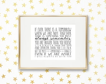 If Ever There is a Tomorrow | Winnie the Pooh - A.A. Milne | 8x10 | Digital Print | Instant Download | Inspirational Quote