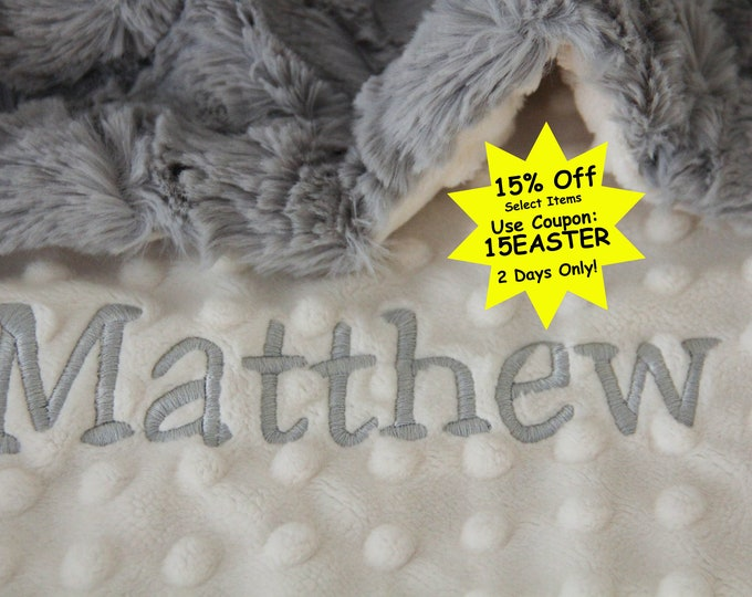 Personalized Baby Blanket / Gray Lattice and Ivory Dot Minky Baby Blanket / Newborn Baby Boy Blanket / Newborn Baby Girl Blanket / Custom