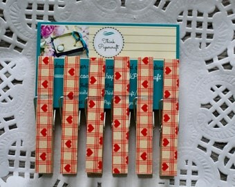 6 wooden clothes peg set, red love heart pegs, wooden pegs, clothespins. Valentine's Day, house-warming gift set