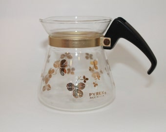 Pyrex Coffee Pot/Carafe with Gold Clovers from 1950's