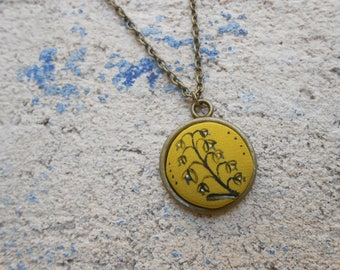 Handpainted silk Medallion pendant necklace - necklace - unique