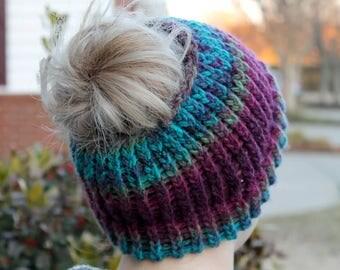 Handmade Knit Messy Bun Hat