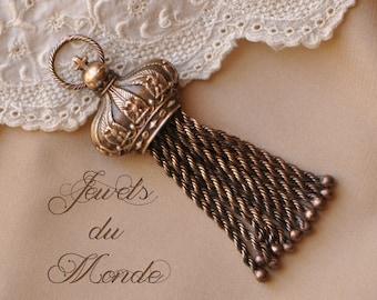 1 Antique Style Crown Tassel Pendant Solid Brass Handmade