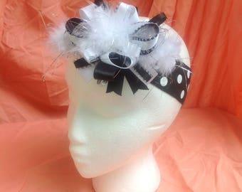 Black/white polka bot headband