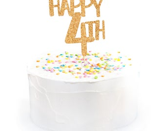 Happy 4th Cake Topper Glitter 4th of July Cake Topper Independence Day Cake Topper 4th of July Decorations 4th of July Party