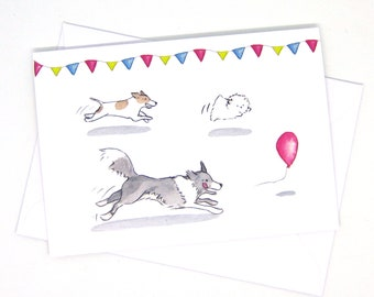 Dog party / Border collie / jack russel / Maltezer / Friends card / Funny dog greeting card / Jack russel gift / Card for dog lovers