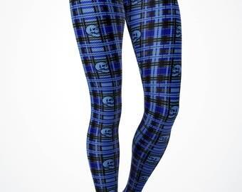Women's Halloween Print Plaid Blue Skull Halloween Leggings  - Yoga Leggings/ Yoga Pants