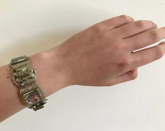 Vintage 1940s Mexican Alpaca Silver Abalone Shell Face Bracelet