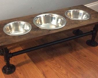 Dog Food Stand, Dog Food Bowl Stand, Pet Food Stand, Cat Food Stand, Dog, Pet, Distressed Wood, Industrial, Shabby Chic, Rustic, Handmade
