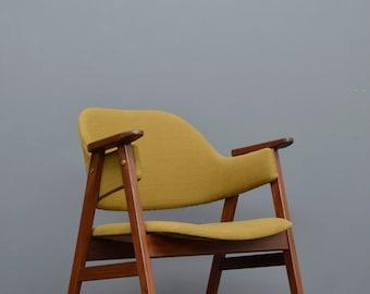 Original 1960's Vintage Retro Mid Century Olive Green Danish Teak Desk Chair by Erik Kirkegaard