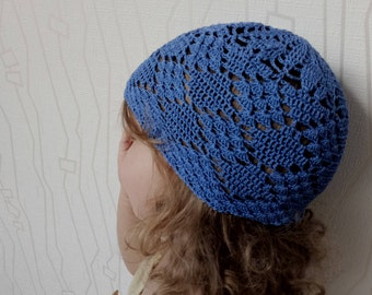 Knitted hats for kids.Blue baby crochet hat.handmade,openwork.Knitted hats for babies