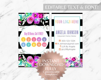 Instant Customizable Floral Striped Fashion Consultant and LLR Business Card + Loyalty Punch Card TEMPLATE