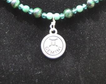 Silver Gemini Zodiac Necklace with Malachite Stones