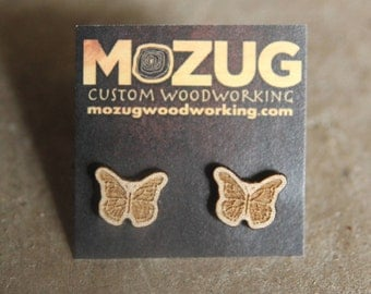 Wooden Butterfly earrings style #2 - lasercut - maple