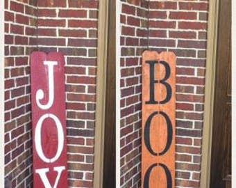 Reversible Double Sided Halloween/Christmas sign, Rustic Halloween/Christmas Sign, Boo, Joy, Front Porch, Porch Decor, Outside sign