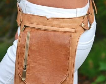 Leather Hip Belt Bag Utility Festival Style Fanny Pack Bum Pocket Waist Pouch Holster Bag Purse Waist Bag Hippie Bohemian Boho Psy Trance