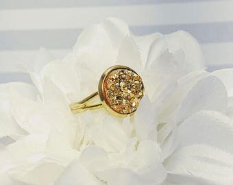 Gold Druzy Ring | Gold Ring | Druzy Jewelry | Gifts for Her | Bridesmaid Gifts