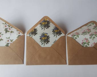 Brown Floral Lined Envelopes
