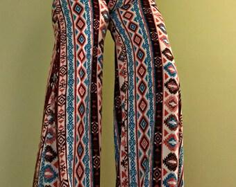 Tribal High Waisted Palazzo Pants, Hippie Pants, Boho Clothing, Festival Clothing