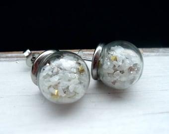 Earrings, Stud Earrings, stainless steel earrings, rhinestone, Kesselsteine, hollow bead