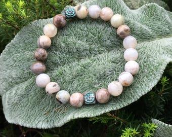 8mm Natural Bamboo Leaf Agate Yoga Mala Beaded Bracelet. Healing Natural Gemstone Beaded Bracelet. Stretch Bracelet. Meditation Wrist Mala.