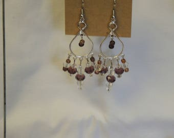 Amethyst and Clear Bead Chandelier Earrings