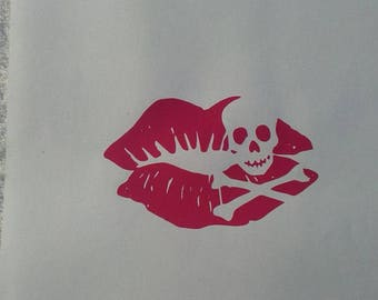 Lips with Skull and Bones Vinyl Decal #1-031