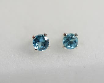 Blue Topaz earrings, sterling Silver blue topaz studs,3mm, Children's earrings, blue earrings, december birthstone