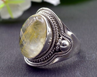 Natural Golden Rutile Oval Gemstone Ring 925 Sterling Silver R796