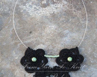 Black crochet with glass beads necklace. Hand made French craft
