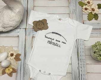 Sundays Are For Football Text with Football Outline Design, Sports Lover, Game Time, Boys or Girls Bodysuit (Onesie) or Toddler T-Shirt