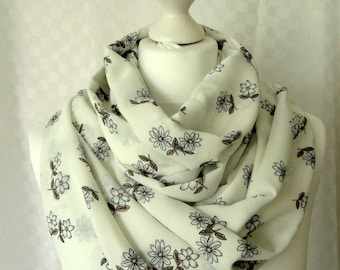 Flower print infinity scarf, Circle scarf, Scarf for her, Lightweight scarf, Fashion scarf, Extra wide infinity scarf