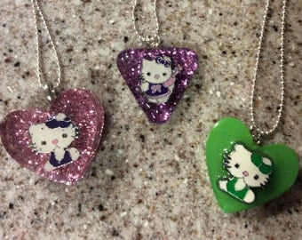 Hello Kitty Kitties Pink Purple Green Glitter Assorted Charm Kitten Necklace Pick the one you like OR Design your own