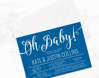 "Oh Baby! Joint Baby Shower by Arbor Grace Collections, 5""x7"" PRINTABLE Invitation, Baby Shower Invitation"