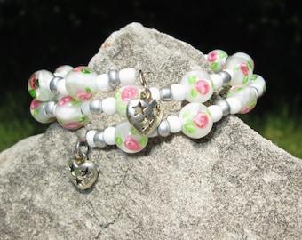 Flower Wrap Bracelet - Wire Wrap Bracelet - Flower Bead Bracelet - Beaded Bracelet - Memory Wire Bracelet - Wrap Bracelet - Charm Bracelet