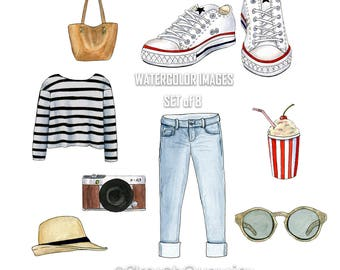 Watercolour Summer style White Converse Set of 8 image on transparent background.