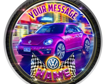 VW Beetle Personalised Edible Icing. Birthday Party Cake Topper Decoration 7.5""