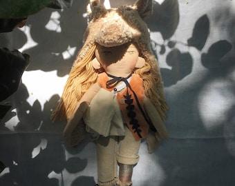 Sand Coyote spirit guardian. Handmade, wool filled doll