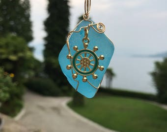 Italian turquoise beach glass pendant with gold & blue ship's wheel #99