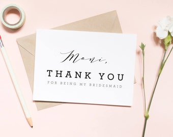 thank you for being my bridesmaid, custom card, bridesmaid card, thank you card, wedding day card / SKU: LNTHANKS13