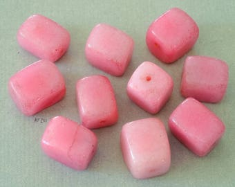 Jade beads dyed in the mass, pink, 5 PCS