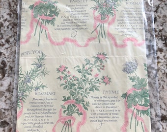 1 of 3 Vintage Herbs Gardening Wrapping Paper Gardener Rosemary Thyme Parsley Birthday Thank You New House New 2 Sheets Per Package