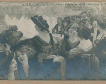 Social Hour at the Music Hall | 1900's Antique Postcard | La Vie Parisienne | Belle Époque | Salon De Paris | Turn of the Century |