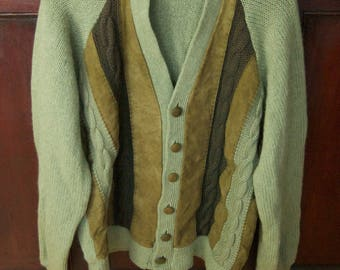 Vintage Gary Reed Wool Sweater with Suede Panels