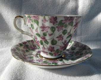 Beautiful Vintage Lefton China Violet Chintz Cup and Saucer #2119