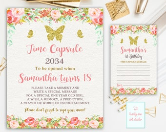 Butterfly Time Capsule Sign, Floral Time Capsule Sign, First Birthday Sign, Time Capsule First Birthday + Matching Note Cards, Printable