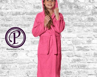 Kids Fuchsia Hooded Terry Flower Girl Robes, Monogrammed Robes, Embroidered Robes, Wedding Day Robes, Bridal Party Robes, Gift, Spa Robe