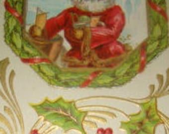 Vintage Charistmas Postcard (Santa #1)